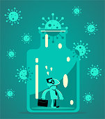 istock One Businessman stuck in a confined space glass bottle with new coronavirus cork 1297351508