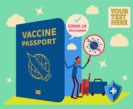 One businessman (tourist) with luggage is showing the Covid-19 Vaccine Passport and boarding