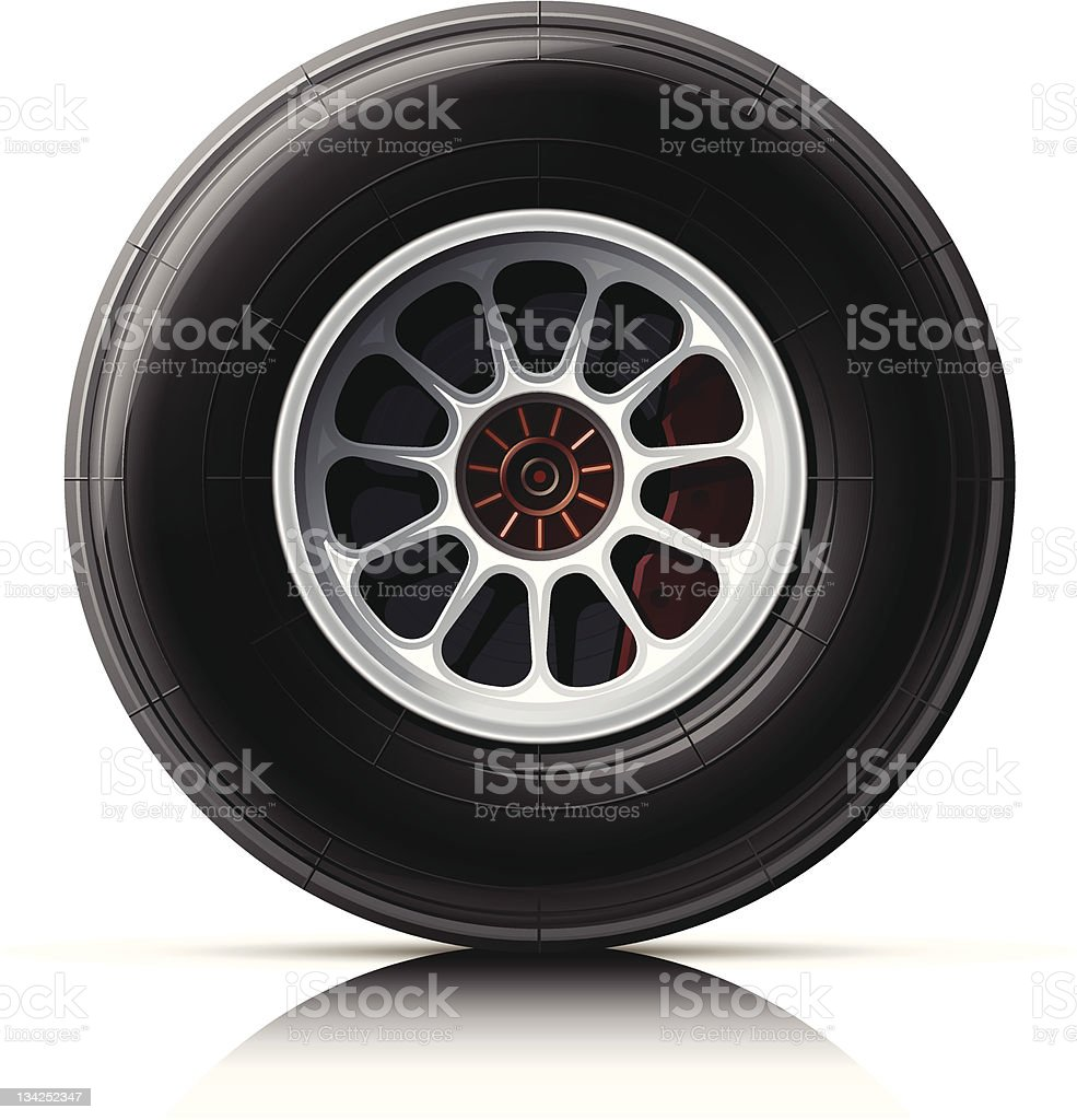 One car wheel and rim standing up on its side vector art illustration