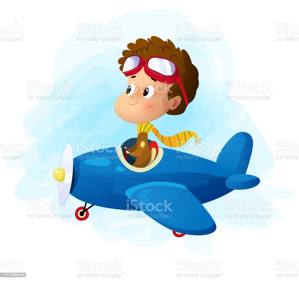One Cartoon Boy Flying Plane Stock Illustration Download Image
