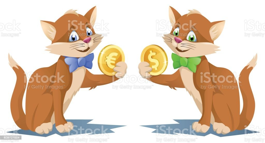 One cat holding dollar symbol and another eagle holding euro symbol vector art illustration