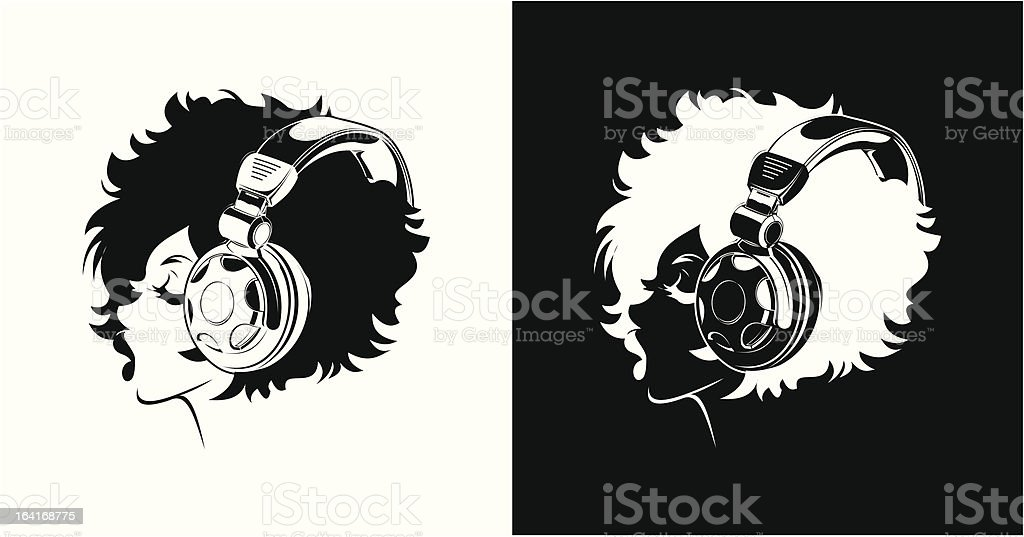 One Color Girl Listening To Music royalty-free one color girl listening to music stock vector art & more images of 16-17 years