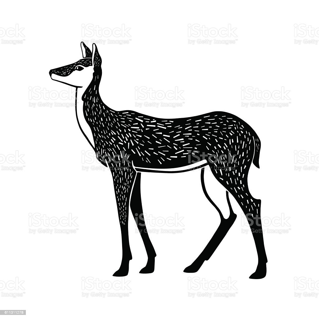 One color illustration of a doe in lithography style. - Illustration vectorielle