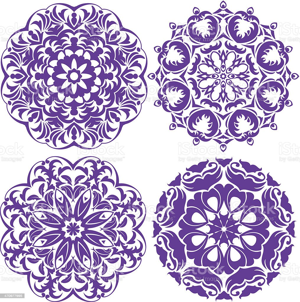 one color round ornaments, Lace floral patterns royalty-free stock vector art