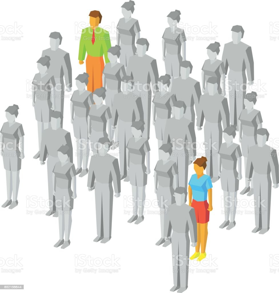 One colored man and women among gray people vector art illustration