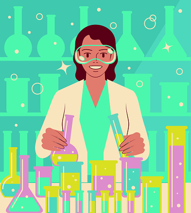 One confident and beautiful young female scientist doing a scientific experiment