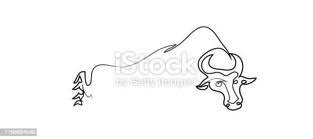 Simple line art drawing of buffalo.