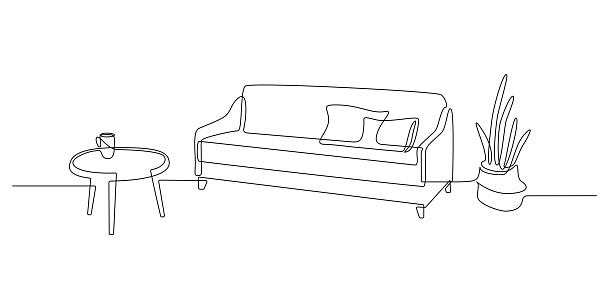 One continuous line drawing of sofa with table and floor potted plant. Home modern furniture of cozy couch with two pillows in simple linear style. Editable stroke Vector illustration