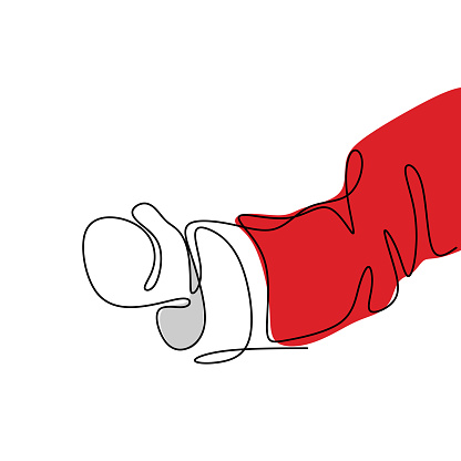 One continuous line of Santa Claus hand with boxing glove isolated on white background hand-drawn by hand picture silhouette. Santa in competitive combat sport concept. Vector minimalist illustration