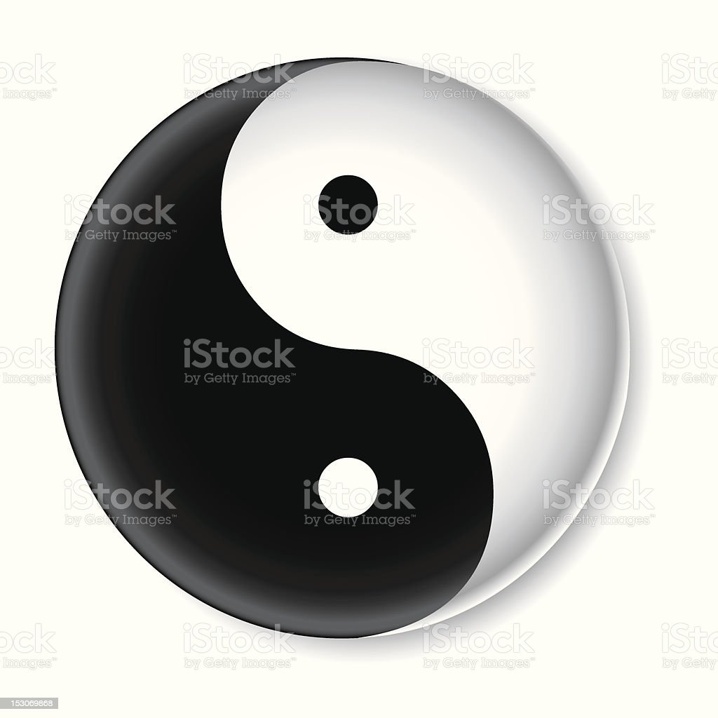 One Credit - Yin Yang Button vector art illustration