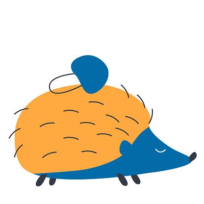 One cute blue hedgehog with a mushroom