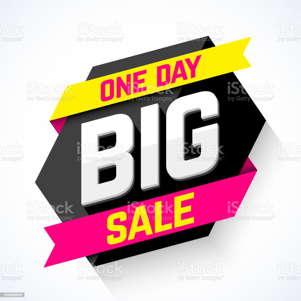 One Day Big Sale banner vector art illustration