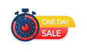 One day sale label, promotion icon. Vector illustration
