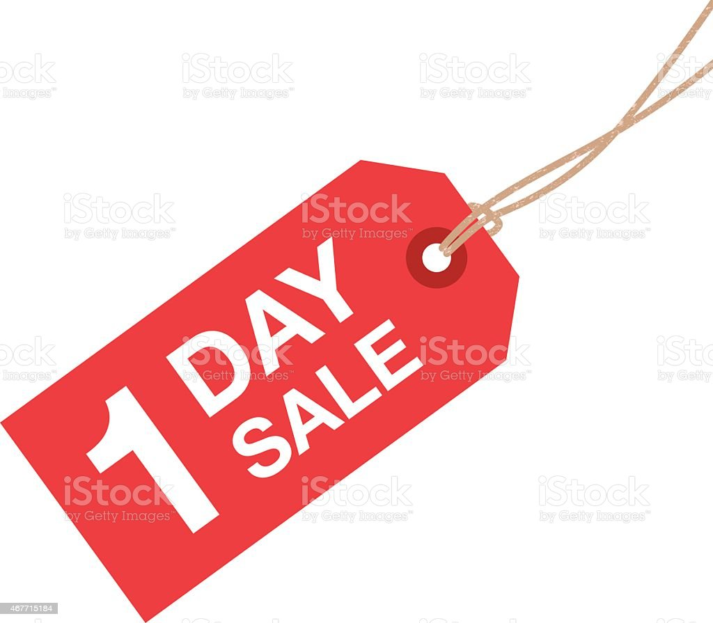 one day sale sign vector art illustration