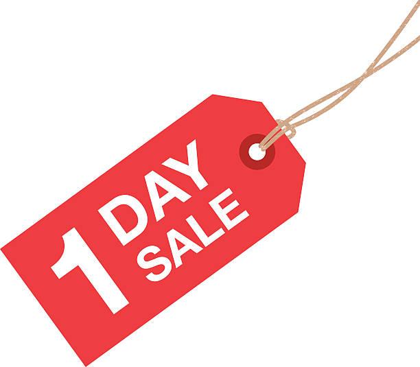 jeden dzień znak sprzedaży - przywieszka z ceną stock illustrations