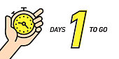One Days Left Countdown Vector Illustration Template