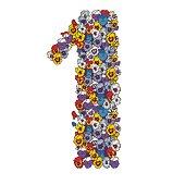 Één cijfer gemaakt van veelkleurige viooltjes bloemen. Floral element van kleurrijke alfabet gemaakt van bloemen.  illustratie