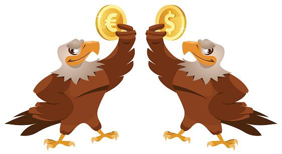 One eagle holding dollar symbol and another eagle holding euro symbol