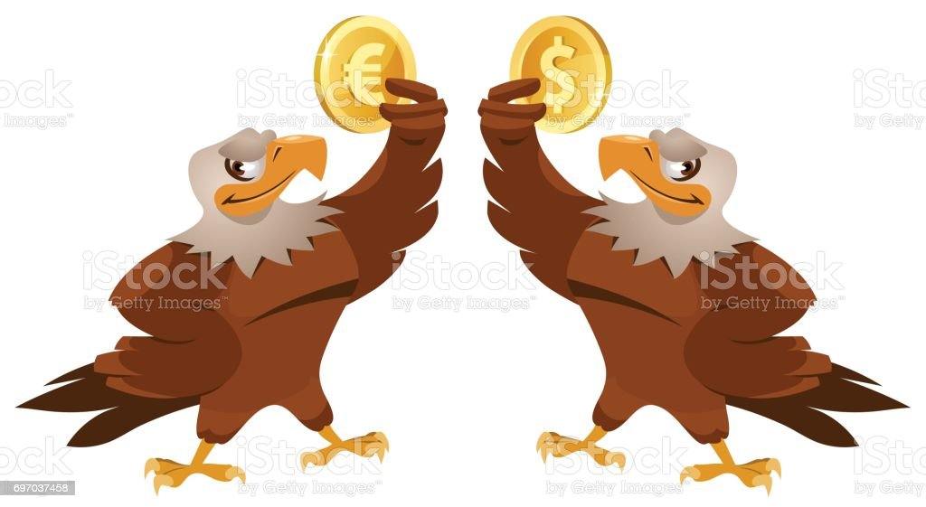 One eagle holding dollar symbol and another eagle holding euro symbol vector art illustration