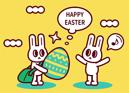 One Easter bunny with a messenger bag is delivering Easter Eggs to another bunny