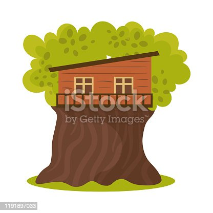 Hand drawn small one floor wooden oblique house on green blooming tree in summer over white background vector illustration. Natural house cccomodation in forest on tree concept