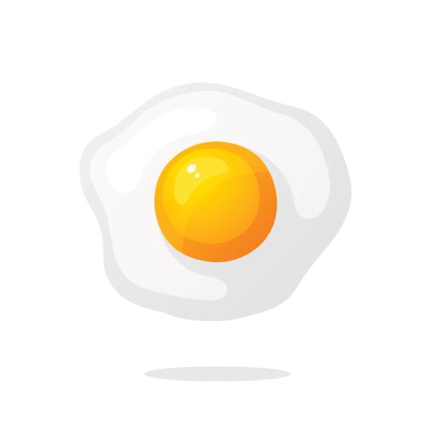 stockillustraties, clipart, cartoons en iconen met een gebakken ei - egg