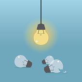 Human Brain, Single Line, Wire, Leadership, Light Bulb