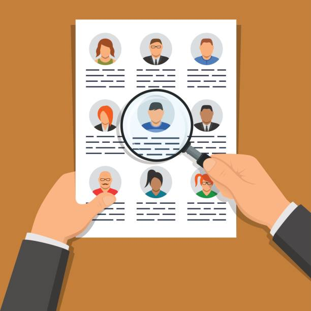 One hand holding document with list of people and another hand holding magnifier over it. Illustration concept of human resources management, finding personnel and headhunting One hand holding document with list of people and another hand holding magnifier over it. Illustration concept of human resources management, finding personnel and headhunting military recruit stock illustrations