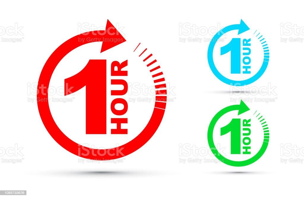 One hour arrow icon set - Grafika wektorowa royalty-free (Biznes)