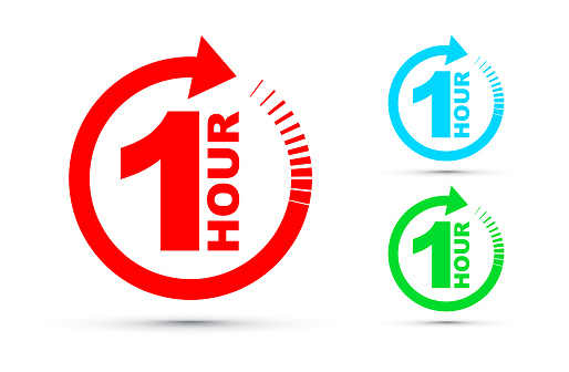 One Hour Arrow Icon Set - Stockowe grafiki wektorowe i więcej obrazów Biznes