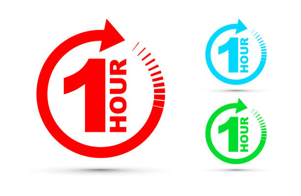 One hour arrow icon set One hour arrow icon set single object stock illustrations