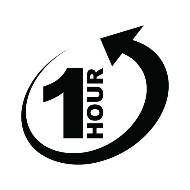 ilustrações, clipart, desenhos animados e ícones de ícone de seta de uma hora - dia do cliente