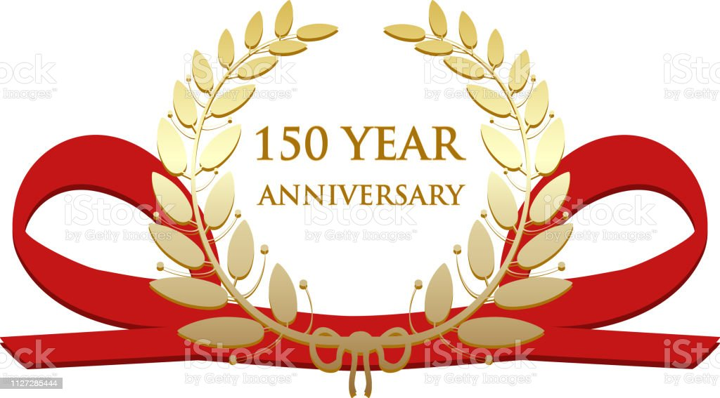 One Hundred And Fifty Year Anniversary Celebration Gold Award vector art illustration