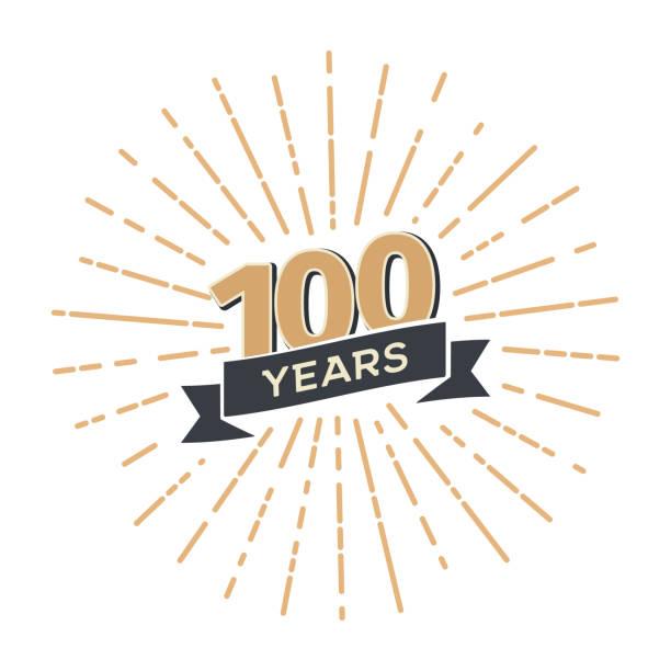 bildbanksillustrationer, clip art samt tecknat material och ikoner med 100 100 årsdagen retro vektor emblem isolerad mall. vintage ikon hundradel år med band och fyrverkerier på vit bakgrund - nummer 100