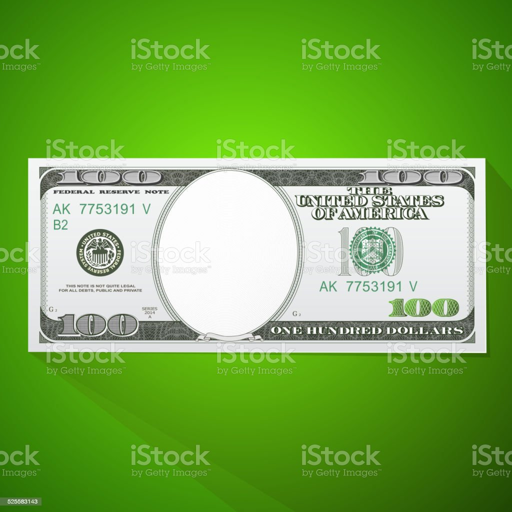 One hundred dollar bill vector art illustration