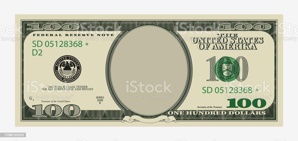 백 달러 지폐 템플릿. 빈 초상화 센터가있는 미국 지폐. - 로열티 프리 100 달러 지폐-미국 지폐 통화 벡터 아트