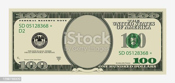 istock One hundred dollars bill template. American banknote with empty portrait center. 1256735320