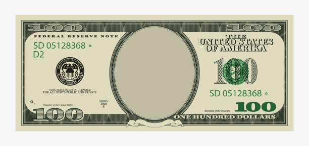 一百美元的鈔票範本。美國紙幣,空白肖像中心。 - money 幅插畫檔、美工圖案、卡通及圖標
