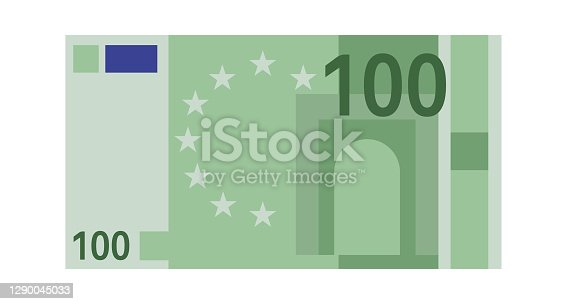istock One hundred euro banknote. Green paper 100 euro money, europe cash simple design, world global currency, bank financial bill vector flat isolated closeup illustration 1290045033