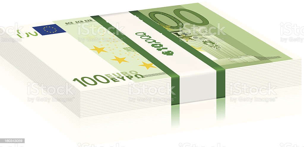 one hundred euro stack vector art illustration