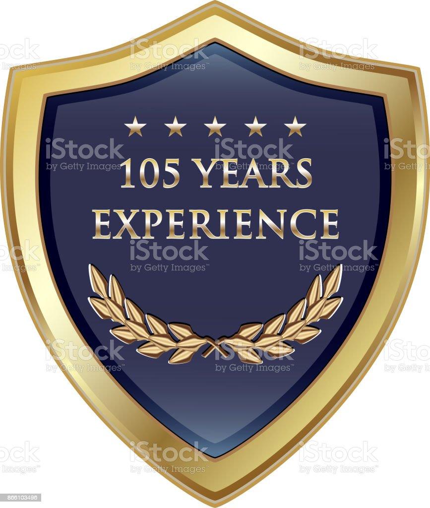 Hundert fünf Jahre Erfahrung Gold Shield – Vektorgrafik