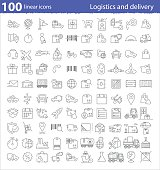 One hundred linear icons for transportation, logistics and deliv