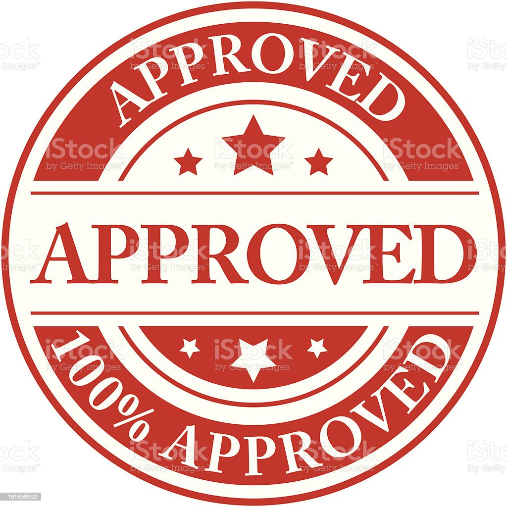 A one hundred percent approved red stamp royalty-free stock vector art