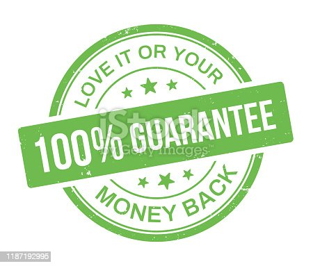 istock One Hundred Percent Guarantee Stamp Badge 1187192995