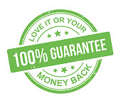 100% stamp guarantee Love it or your Money Back Guarantee badge with grunge texture.