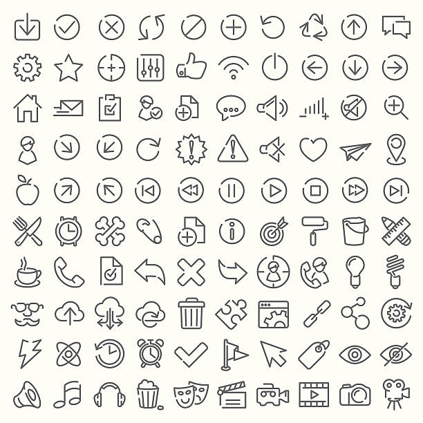 One hundred vector line icons set vector art illustration