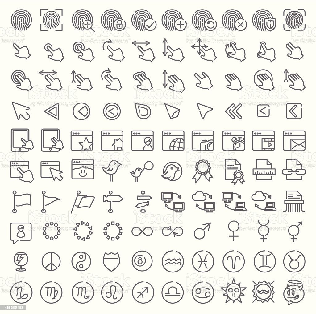 One hundred vector line icons set royalty-free stock vector art