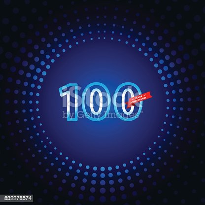 Vector of 100 years anniversary icon with blue color dot pattern background. EPS Ai 10 file format.