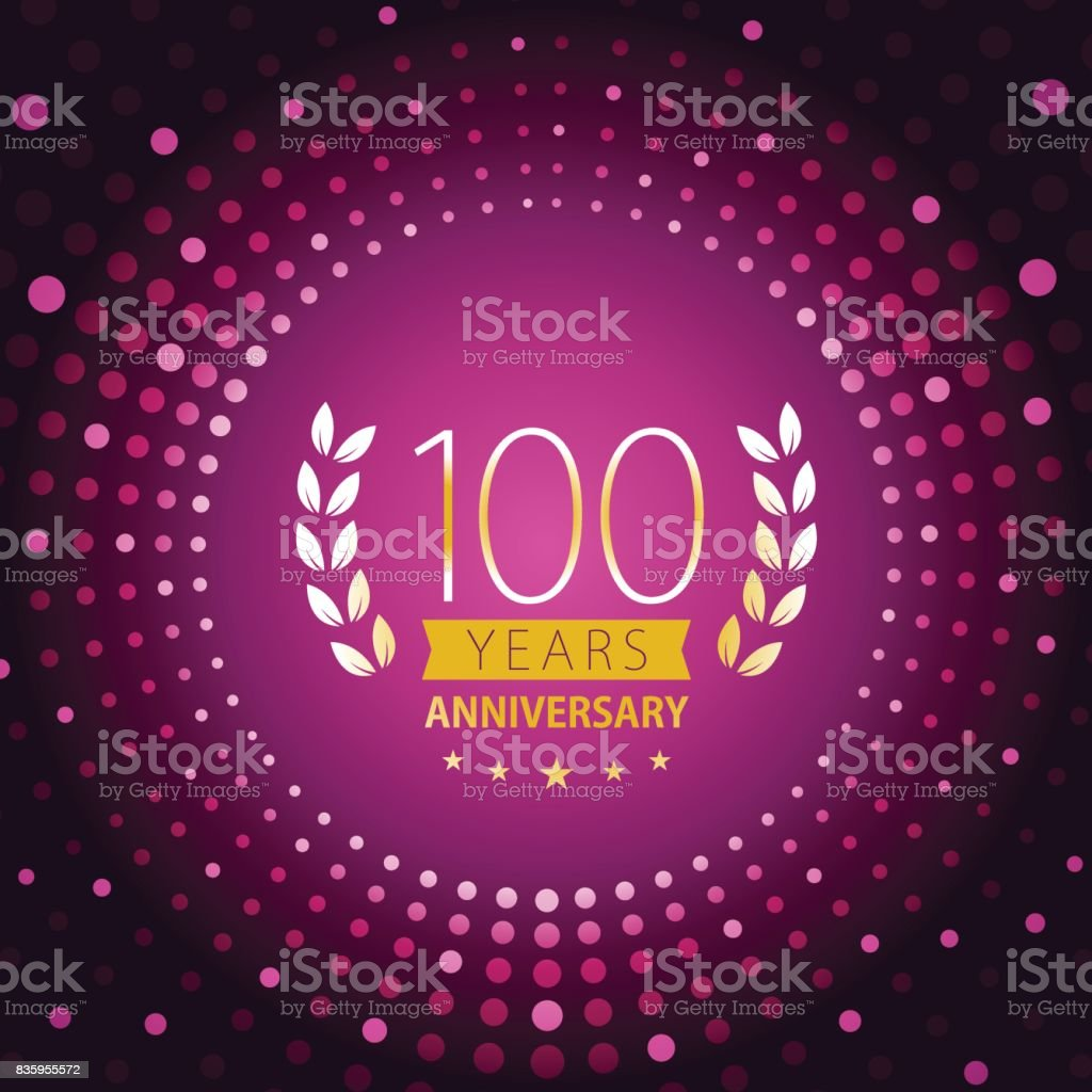 One hundred years anniversary icon with purple color background vector art illustration
