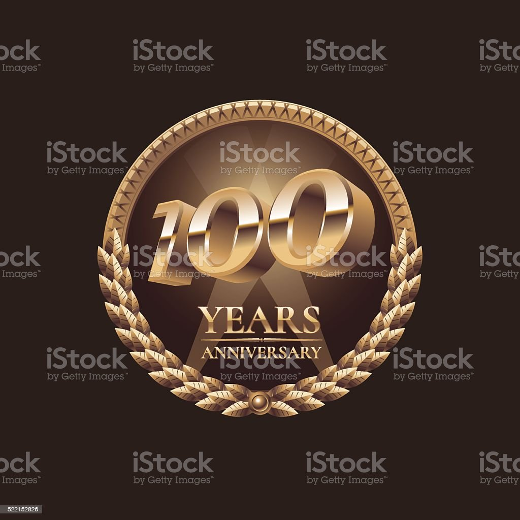 One hundred years anniversary vector icon. 100th celebration design vector art illustration